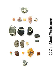 Collection of rocks on white