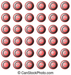 Collection of round buttons isolated on white background