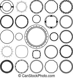 Collection of Round Decorative Ornamental Border Frames with Clear Background. Ideal for vintage label designs.