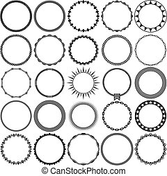 Collection of Round Vintage Label Border Frames - Collection...
