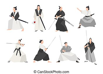 Collection of samurai isolated on white background. Set of...