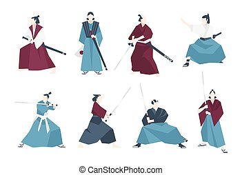 Collection of samurai standing in different postures and holding katana sword. Set of Japanese warriors dressed in traditional clothing. Flat cartoon characters. Colored vector illustration.