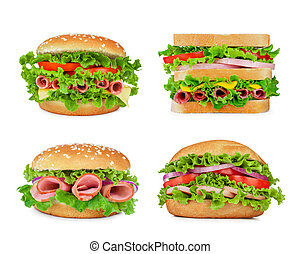 collection of sandwiches isolated on a white background