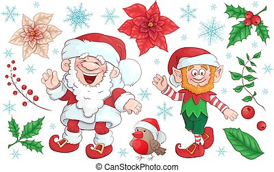 Collection of Santa Claus. Merry Christmas set. Vector, illustration