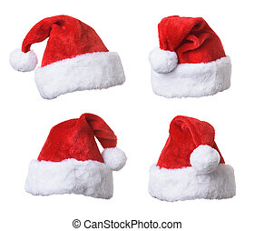 Collection of Santa's red hat isolated on white background