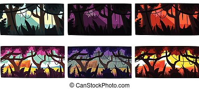 Collection of Scene of Nature in Different Time of Day, Beautiful Tropical Rainforest Horizontal Backdrops Vector Illustration