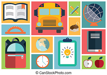school items icons, flat design