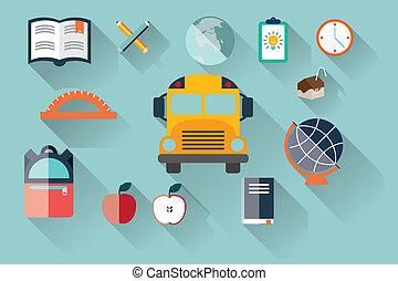 school items icons, flat design