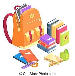Collection of School-Related Objects on White