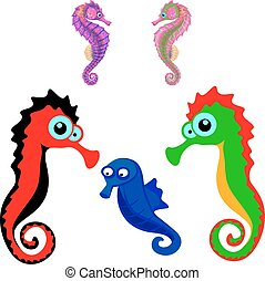Collection of seahorses, cartoon on a white background.