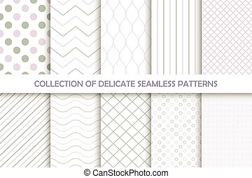 Collection of seamless delicate patterns.