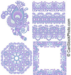 collection of seamless ornamental floral stripes and flower circle, frame