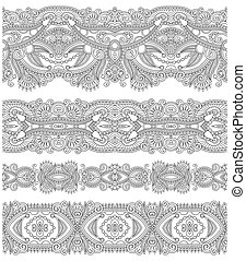 collection of seamless ornamental floral stripes, black and...