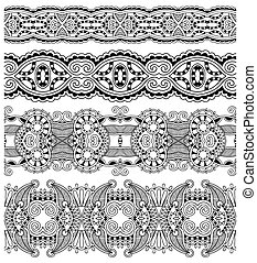 collection of seamless ornamental floral stripes, black and ...