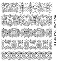 collection of seamless ornamental floral stripes, black and white