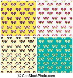 collection of seamless pattern in retro style vector illustration