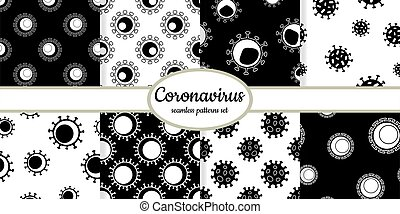 Collection of seamless pattern with Coronavirus