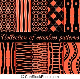 Collection of seamless patterns. Geometric figures in the background. Orange and black. Vector illustration.