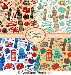 Collection of seamless patterns with London landmarks and...