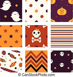Collection of seamless vector Halloween background