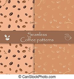 Collection of seamless vector patterns. Coffee