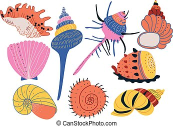 Collection of Seashells, Colorful Tropical Underwater Shells and Creatures Vector Illustration