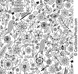 Collection of  seashells drawn in line art style on white background. Ocean seamless vector pattern. Coloring page design. Black and white. Zen tangle.