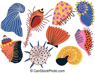 Collection of Seashells, Tropical Underwater Clams, Shells and Creatures Vector Illustration