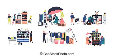 Collection of sellers and counters of flea market, rag fair. People selling vintage goods, jewelry and stylish clothing isolated on white background. Vector illustration in flat cartoon style