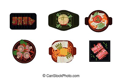 Collection of served food dishes, cooking and healthy eating concept, vegetarian dishes vector Illustration on a white background