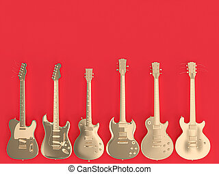 collection of several gold colored guitars on a uniform coral