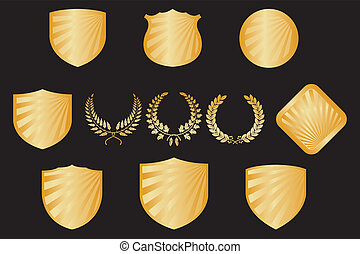 Collection of shields and wreaths - Collection of golden ...