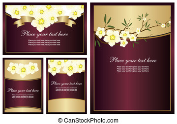 Collection of shiny backgrounds with flowers