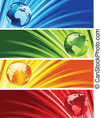 Collection of shiny banners with globes