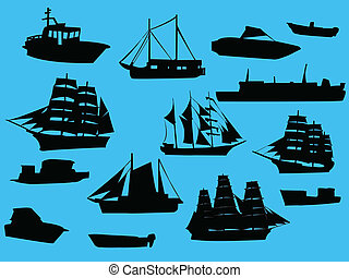 Collection of ships silhouette - vector