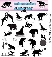Collection of silhouettes of animals in circus show