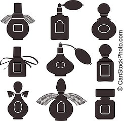 Collection of silhouettes of bottles for perfume. Vector illustration.