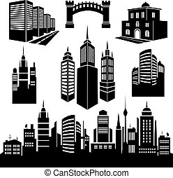 Collection of silhouettes of city images.