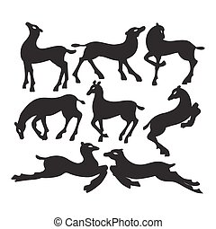 Collection of silhouettes of deer in different positions.