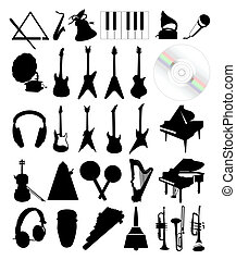 Collection of silhouettes of musical instruments. A vector illustration