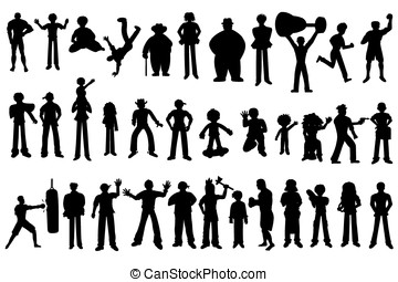 Collection of silhouttes of people
