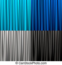 Collection Of Silk Curtains - 4 Silk Curtains, Vector...