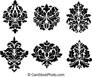 Collection of six different arabesque designs with floral...