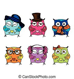 Collection of six different cute owls