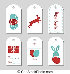 Collection of six Easter gift tags.