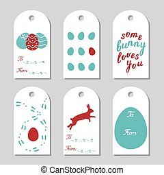 Collection of six Easter gift tags