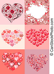 collection of six hearts