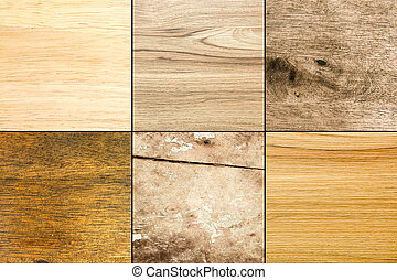 Collection of six plain wood texture background