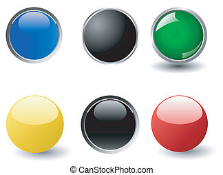 Collection of six round web buttons