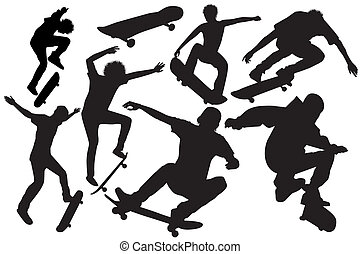 Collection Of Skateboard Vector - Set of skateboard jump on...